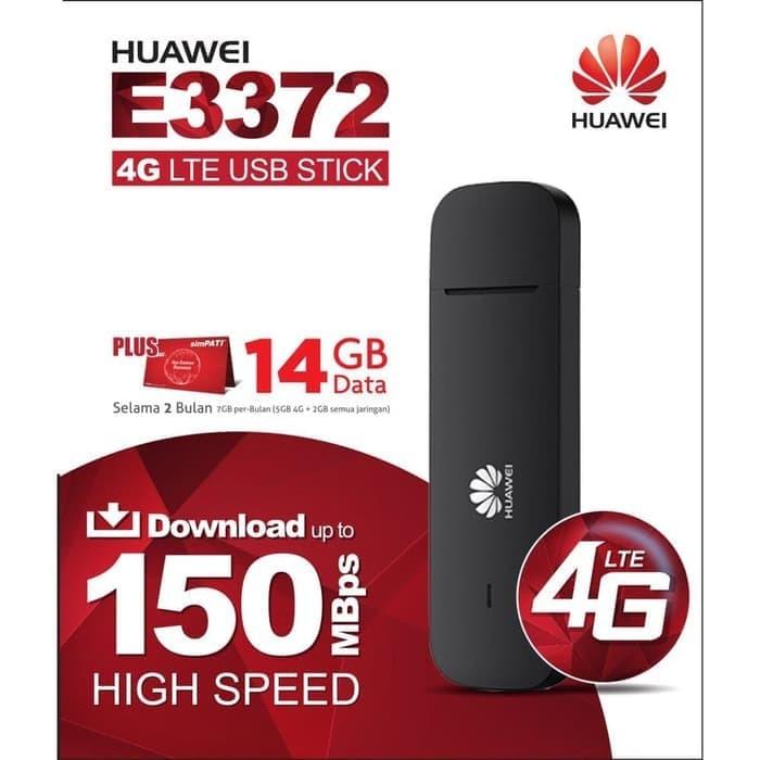harga Modem 4g lte huawei e3372 unlock free telkomsel 14gb 2 bulan - hitam Tokopedia.com