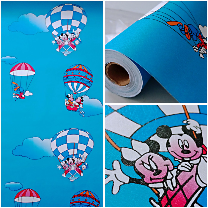 Jual Wallpaper Dinding Kamar Anak Kartun Mikey Mouse Di Awan Biru