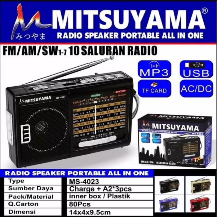 Foto Produk Speaker Radio Portable FM, USB, TF Card MP3 Player MS-4023 DC/AC dari herman shoop jakarta