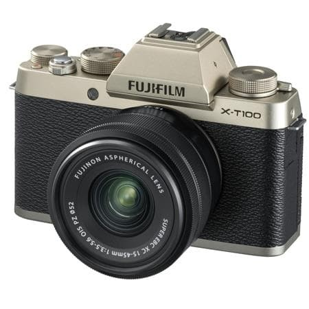 harga Fujifilm x-t100 kit 15-45mm paket komplit - gold Tokopedia.com