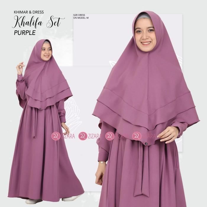 Harga Promo Khalifa Dress Set Gamis Dan Khimar Purple By Zizara