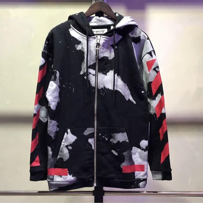 c505689c1807 Jual Off White Liquid Spot Black Red Zipper Hoodie - Hitam