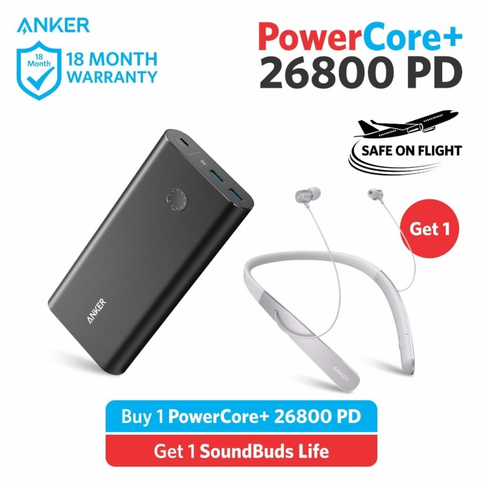 BUNDLING Powercore+ 26800 PD FREE Soundbuds life