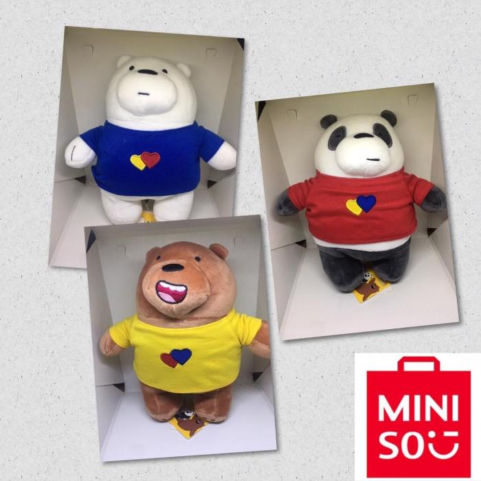 Boneka Original Miniso We Bare Bears Standing Costum 22-24Cm
