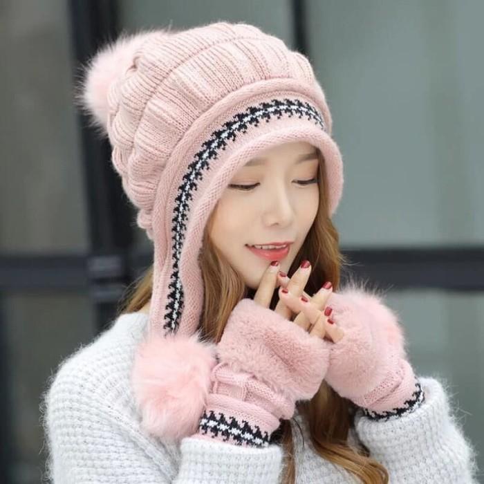 Jual Topi Kupluk Sarung Tangan Set Musim Dingin Winter Wanita T-B01 ... 0dc5663cea