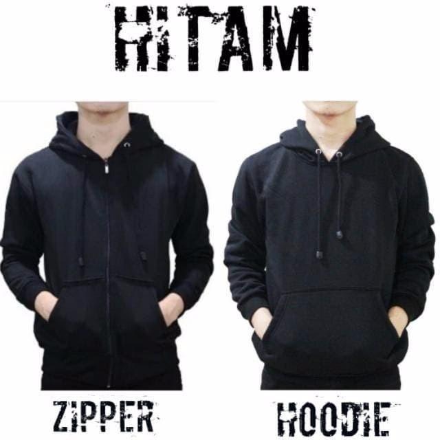 Jaket Sweater polos Hoodie Zipper Hitam laki dan wanita SIZE M XXL