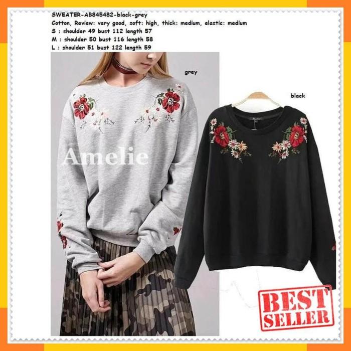 Sweater Sweatshirt Winter Bordir Blouse Wanita Korea Import Black Grey 73f80955e7