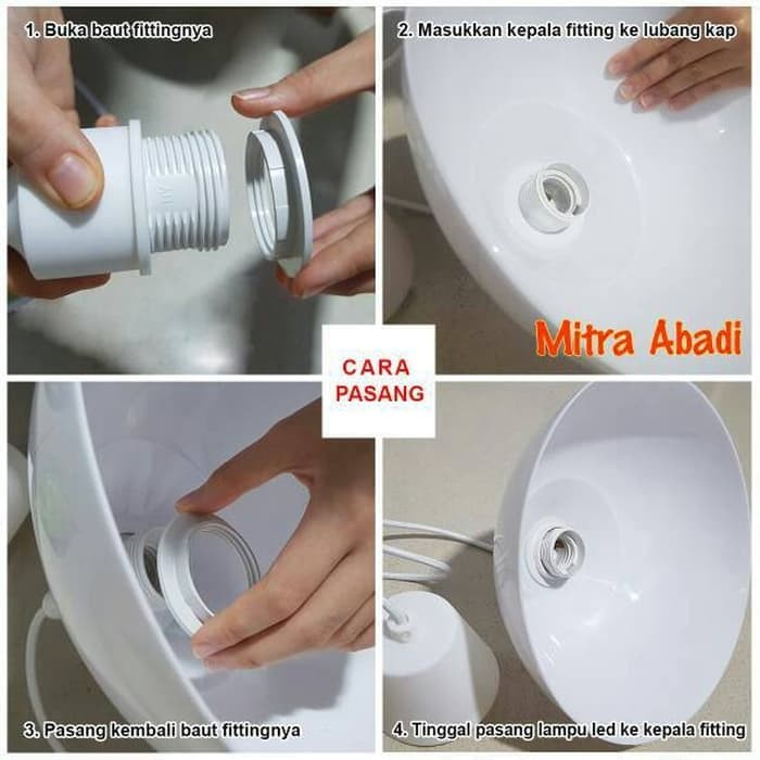 #Listrik Kap Lampu Gantung BULAT Fitting E27 Diameter 24,5 cm