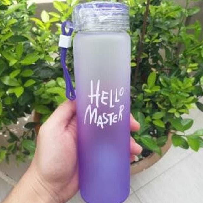 Botol Minum Kaca Hello Master Free Pouch B-72 - Hijau Muda