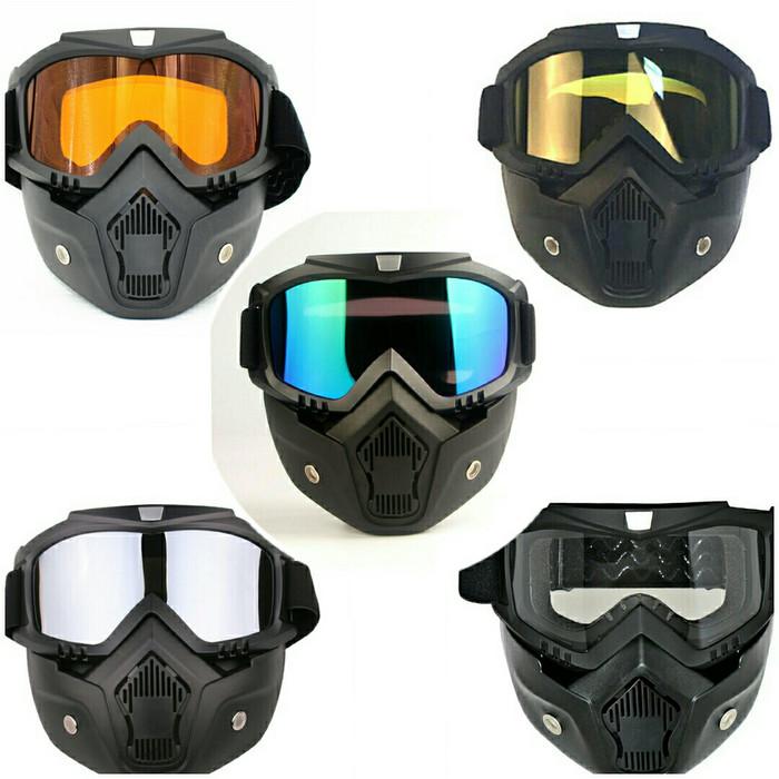 Foto Produk Kacamata Goggle Helm Masker Motor Set Paintball Airsoftgun Trail Cross - Gold dari lbagstore