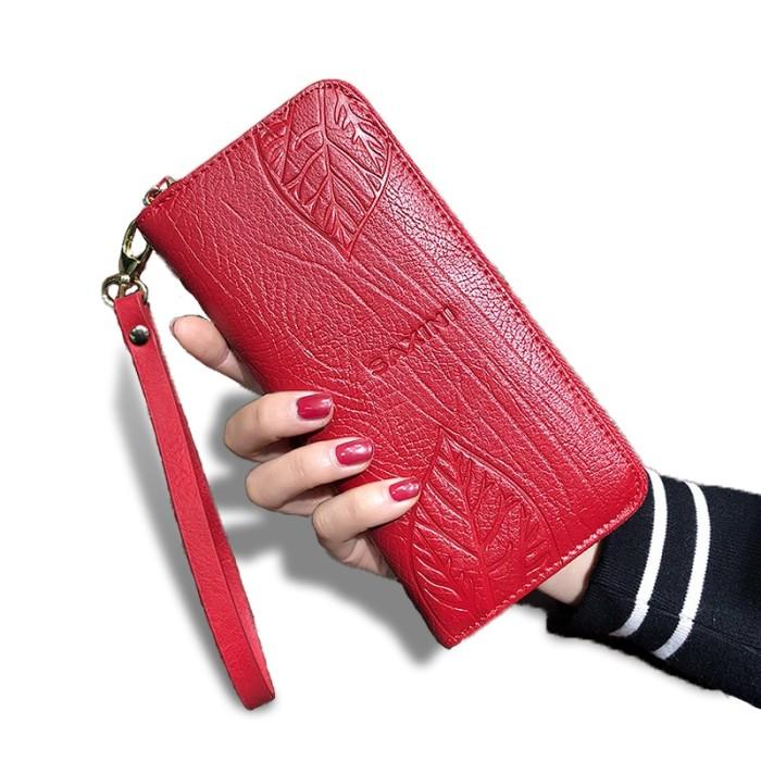 AOEO Ladies Embossing Wallet Female With Genuine