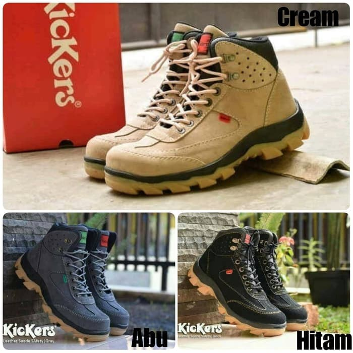 Sepatu boot safety pria kickers leather suede premium a2c9cb162f