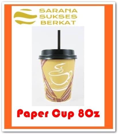 Foto Produk Paper Cup Coffee Set - Paper Cup 8oz - Tutup - Sedotan - 50 pcs dari Sarana Sukses Berkat
