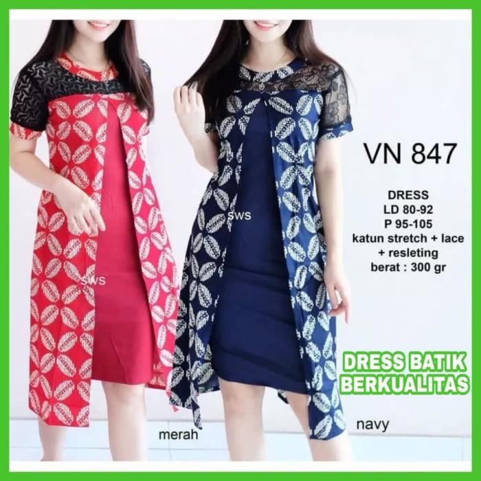 Review Dress Batik Modern Wanita Terbaru Dress Batik Kombi Brukat ... 883327fc25