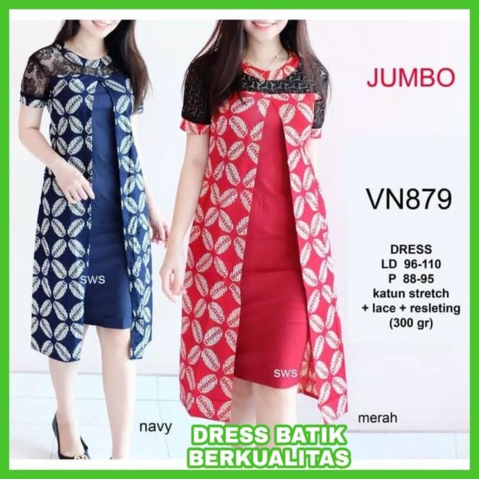 Harga Jual Baju Kerja Batik Wanita Big Size Dress Kerja Batik JUMBO ... 60f650a98d