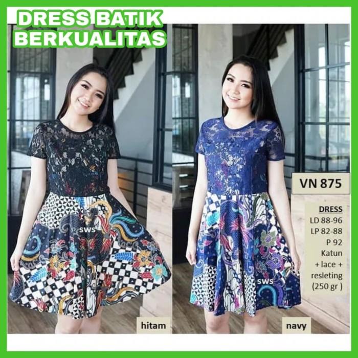 Review Dress Batik Modern Wanita Terbaru Dress Batik Midi Flare ... 3189934c0c