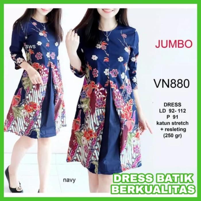 Dress Batik Wanita Big Size Dress Batik Modern Jumbo Flare Terbaru Zia 311c0fea6c