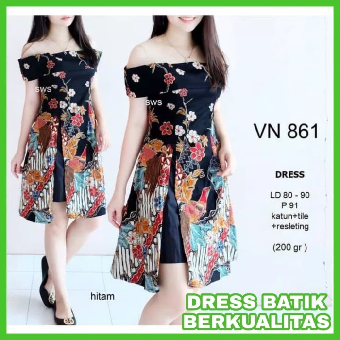 Dress Batik Modern Midi Flare Wanita Terbaru Dress Batik Sabrina Vita a6c42ce97c