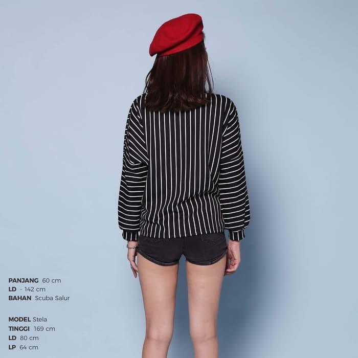 MURAH Stripe Boat Neck Top Atasan Blouse Wanita Sweater Long Sleeve