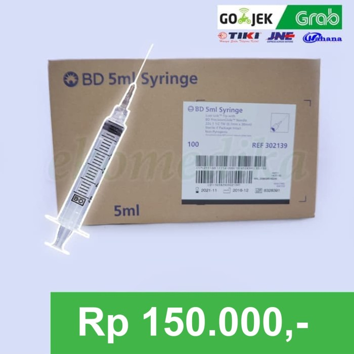 Jual BD Disposable Syringe with needle 5ml 22gx11/4