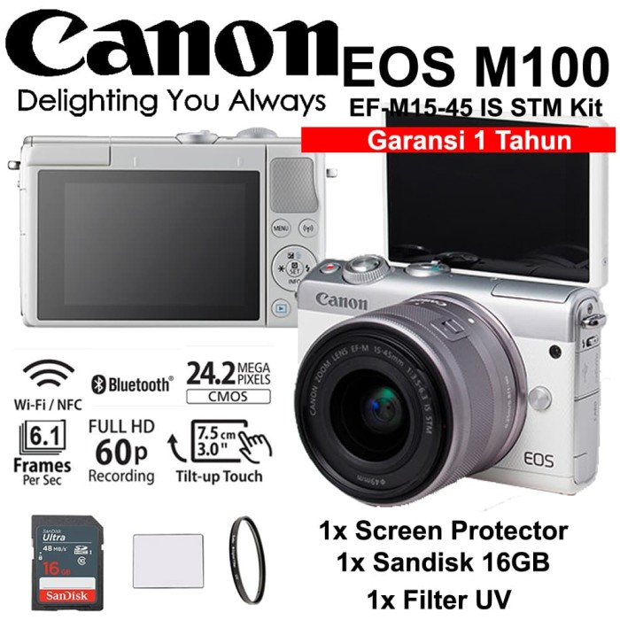 harga Canon eos m100 white 15-45mm kit - screen - sandisk 16gb - filter Tokopedia.com