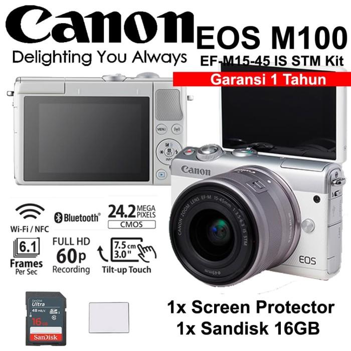harga Canon eos m100 white 15-45mm is stm kit - screen - sandisk 16gb Tokopedia.com