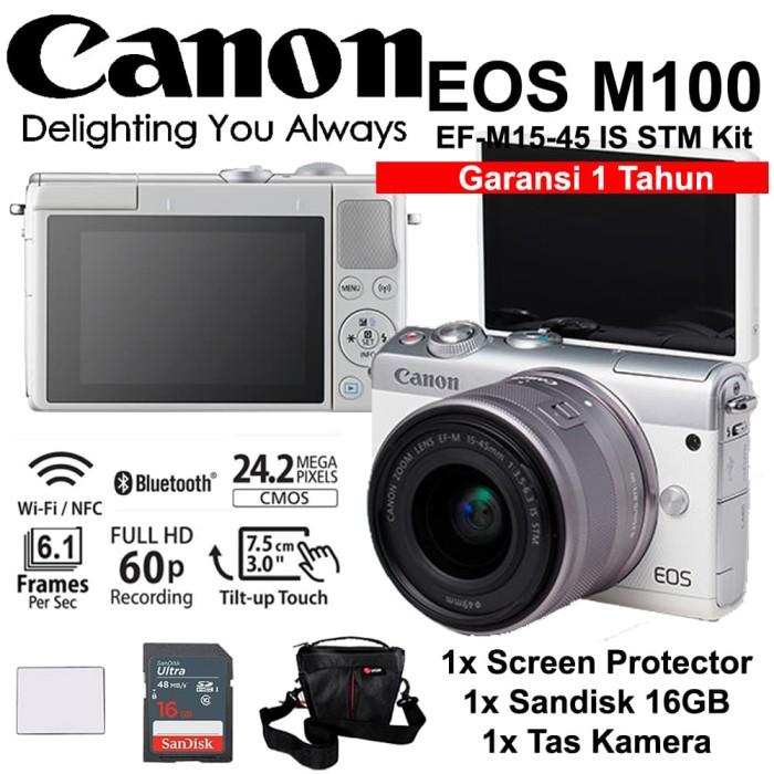 harga Canon eos m100 white 15-45mm kit - screen - sandisk 16gb - tas Tokopedia.com