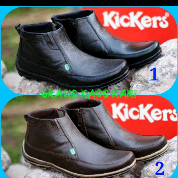 harga Sepatu boots casual pria kickers zipper semi boot kulit sapi asli Tokopedia.com