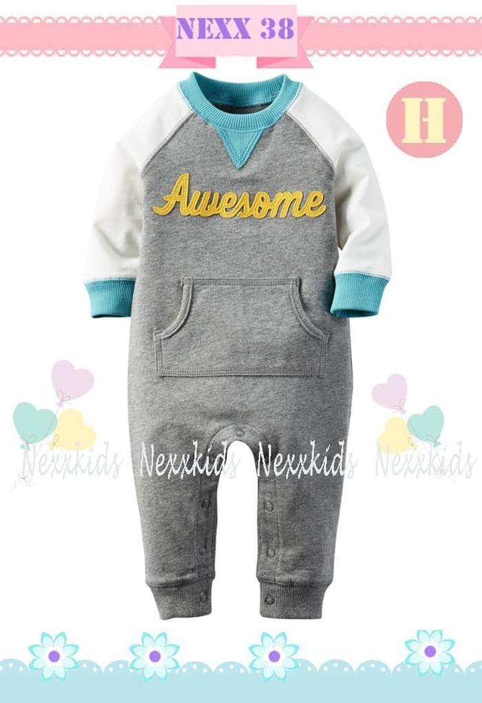 Paling Laku Baju Bayi / Jumper/ Jumpsuit/ Romper Set Awesome Gray b