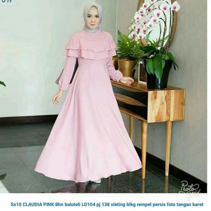 Jual Gamis Modern Maxi Dress Pink Merah Muda Remaja Wanita Kekinian