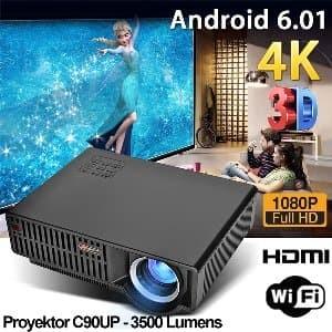 Foto Produk Projector Android C90up Proyektor HD 3500 lumens Projek Promo Gede dari David Stores
