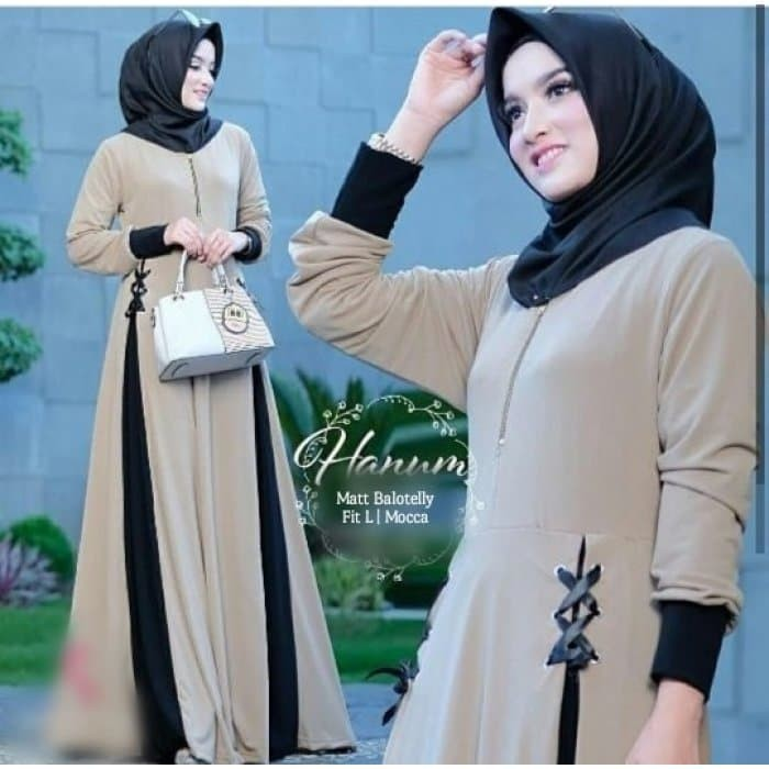 Foto Produk Hanum Maxy Baloteli fit L Mocca Navy Hitam Gamis Dress Maxi Busana dari Emiliy Shop