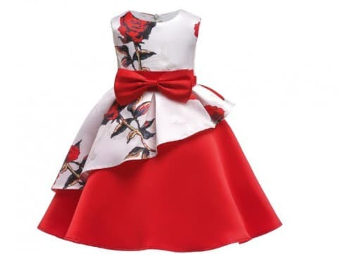 Foto Produk Baju Dress Party Anak Cewek Import Cute Elegant White Red dari zidangrosir