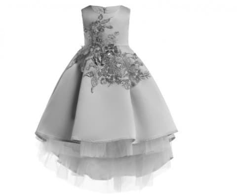Foto Produk Baju Gaun Pesta Anak Dress Exclusive Flower Sequins Long Skirt Silver dari zidangrosir