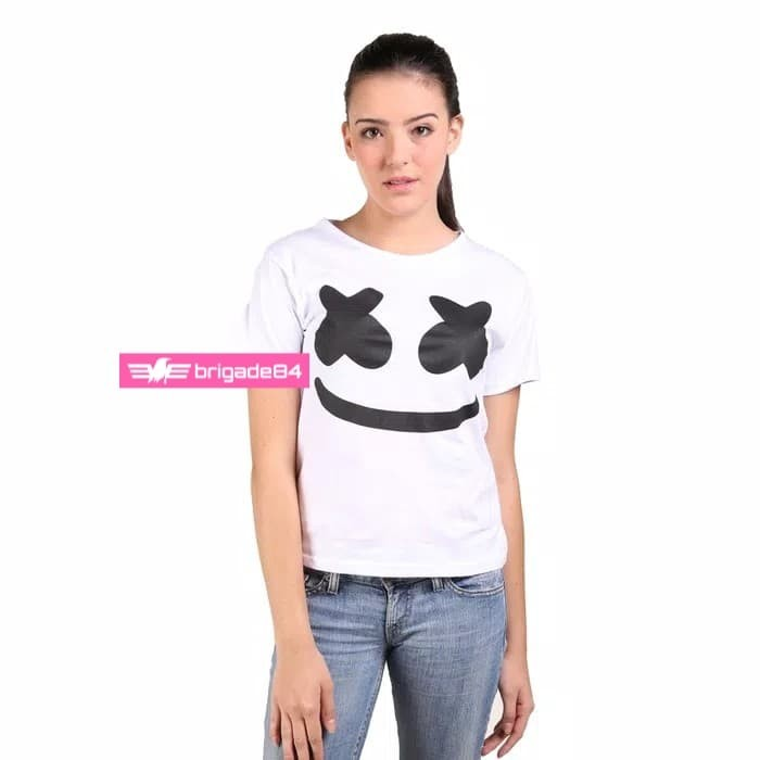 Kaos Wanita / Kaos Cewek / Putih / Marshmello / 01