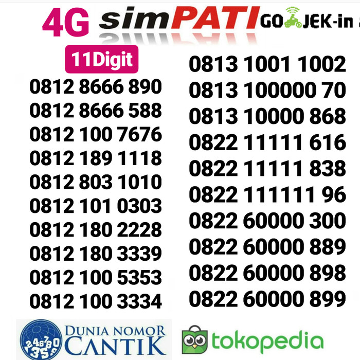 Nomor Simpati Cantik Kartu Perdana Telkomsel 4G