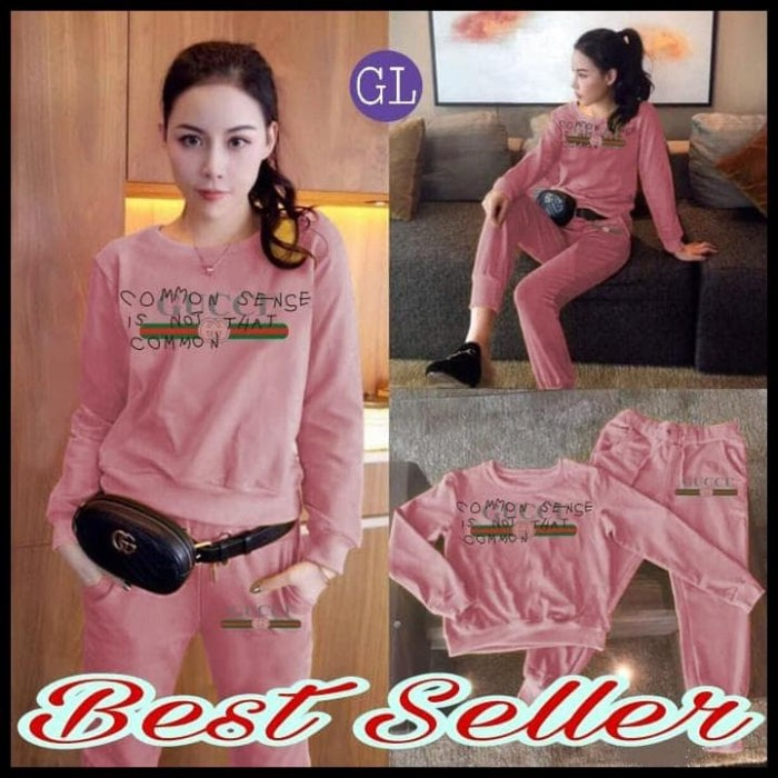 BOOM SALE 60368 stelanguccci/baju olahraga wanita/stelan olahraga