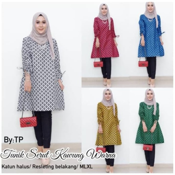 Foto Produk Batik Dress Tunik Serut Kawung Warna - Kuning, M dari yakusafashion