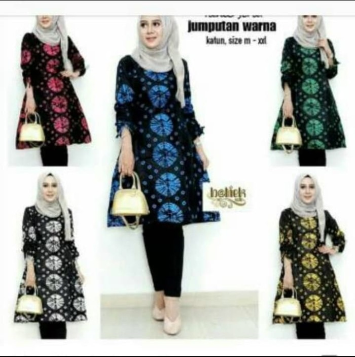 Foto Produk Batik Dress Tunik Serut Jemputan Warna - Biru dari yakusafashion