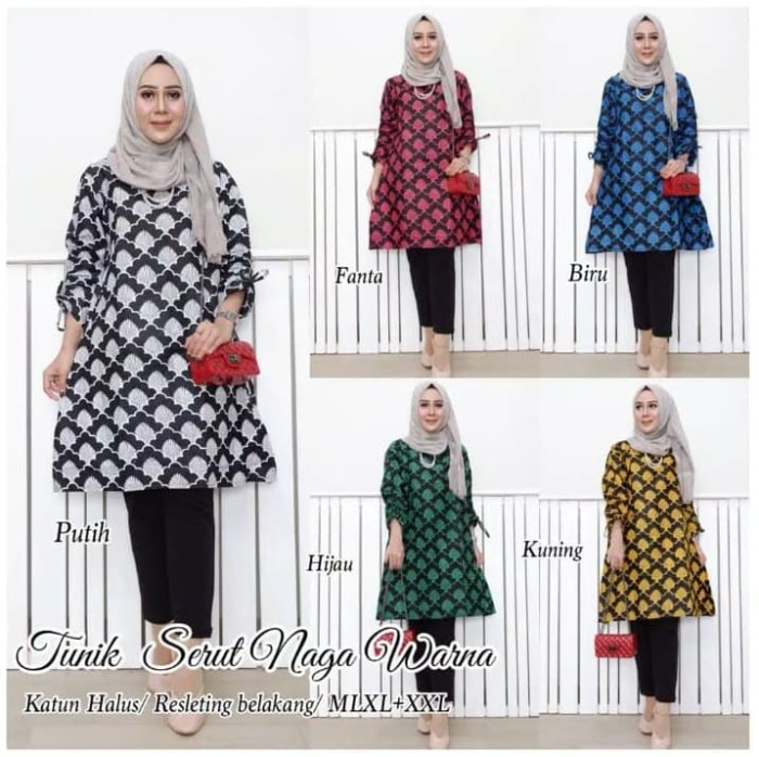 Foto Produk Batik Dress Tunik Serut Naga Warna - Kuning, L dari yakusafashion