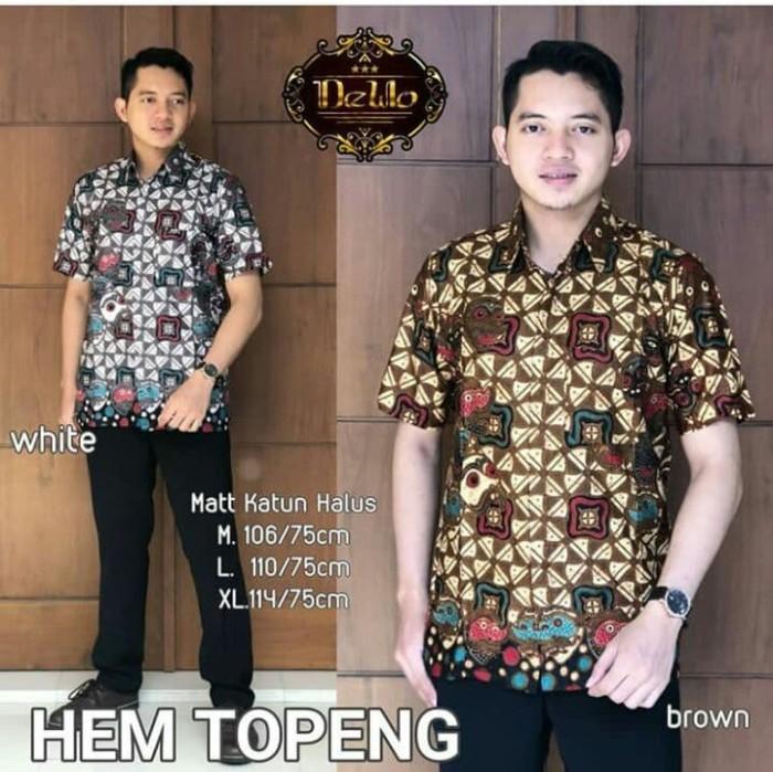 Foto Produk Kemeja Batik Hem Topeng - Cokelat Muda, M dari yakusafashion