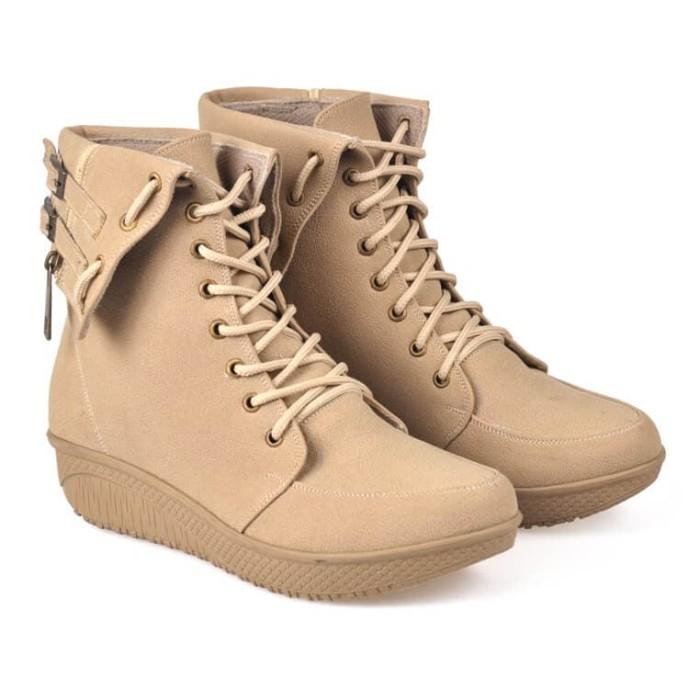 sepatu boot wanita / boots wanita terbaru/boot perempuan bcc 885 - Beige, 38