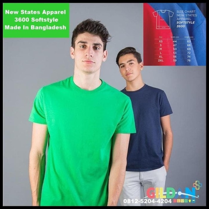 Foto Produk NEW New States Apparel Softstyle 3600   Pengganti Kaos Gildan dari huseinabubakar11