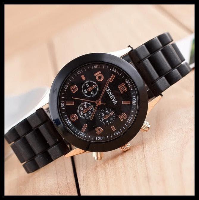 Foto Produk EKSLUSIF Jam tangan wanita / cewek Geneva Jtr 048 black dari syarifahrifa98