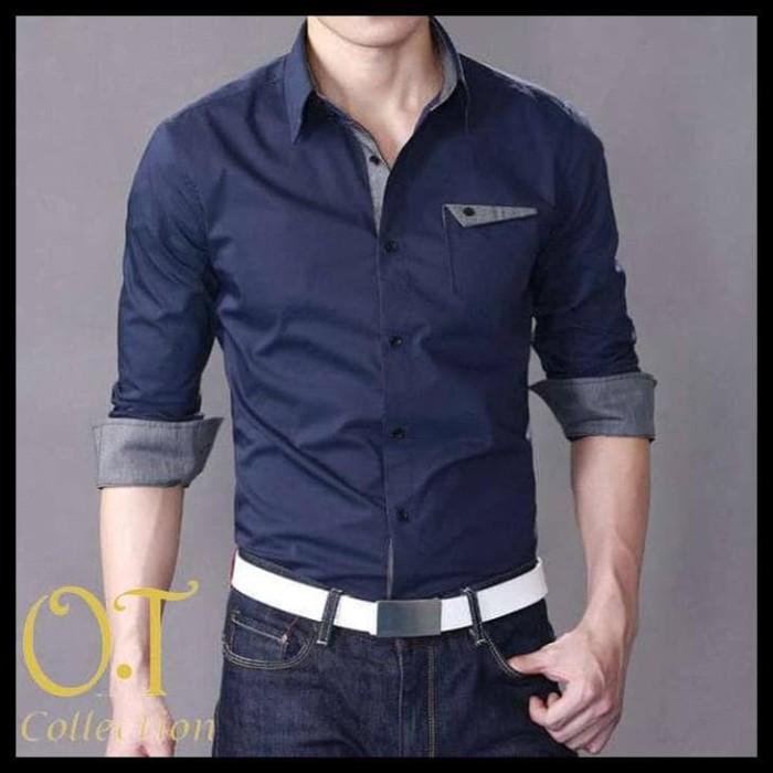 Foto Produk TERMURAH aries navy VL pakaian pria kemeja slim fit warna navy dari alawi.ahmad11