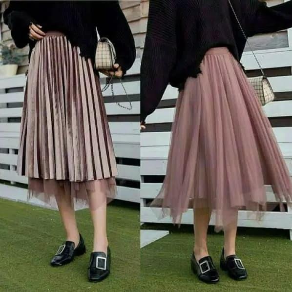 28f58f8777 Jual Plisket velvet c1230 long skirt - SanSanID | Tokopedia