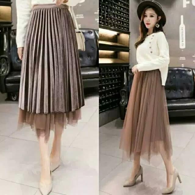2135a48e59 Jual Plisket velvet c1230 long skirt - - Jakarta Utara - SanSanID ...