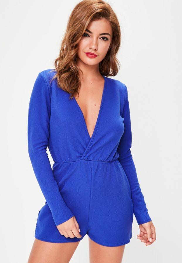 Jumpsuit Playsuit Wanita Blue Deep V neck (M) Import Original