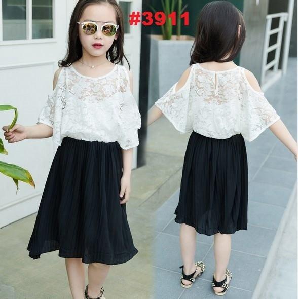 harga Dress anak platted hitam brukat putih crop rsby-3911 Tokopedia.com