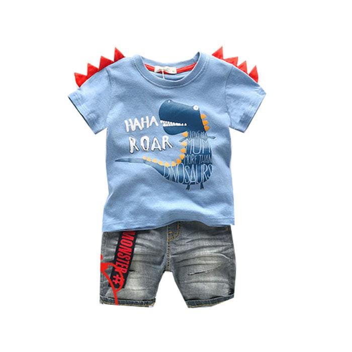 harga Ca1803 - baju setelan kaos celana anak cowok dinosaurus biru lucu Tokopedia.com